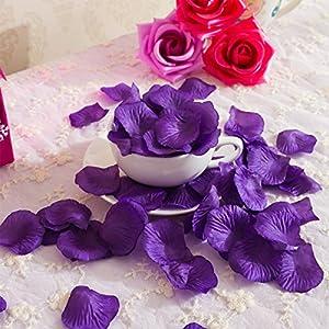 PIXNOR 1000pcs Silk Rose Petals Decorations for Wedding Party (Purple) 5
