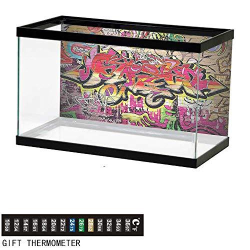 bybyhome Fish Tank Backdrop Brick Wall,Graffiti Spray Paint,Aquarium Background,36