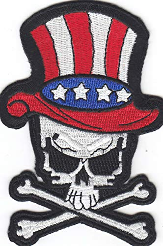 Iron On Embroidered Patch Top Quality USA Flag Hat w/Skull & Crossbones Biker Patriotic Iron On, 4 1/4