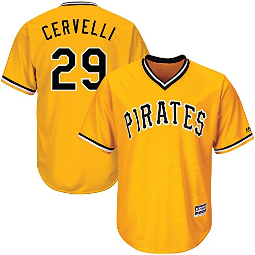 Outerstuff Francisco Cervelli Pittsburgh Pirates #29 Youth Cool Base Alternate Jersey Gold (Youth Small 8)