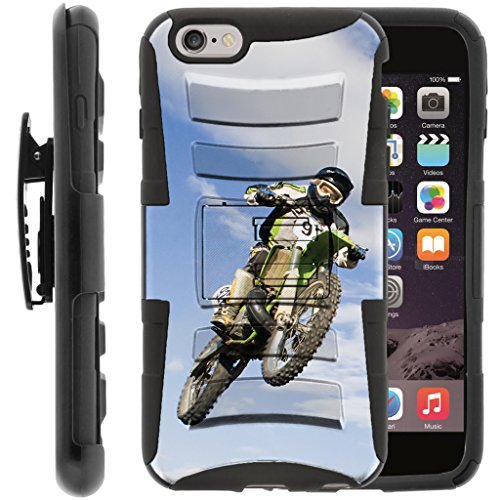TurtleArmor | Compatible for Apple iPhone 6 Case | iPhone 6s Case [Hyper Shock] Armor Solid Hybrid Kickstand Impact Silicone Holster Belt Clip Sports and Games Design - Motocross Bike