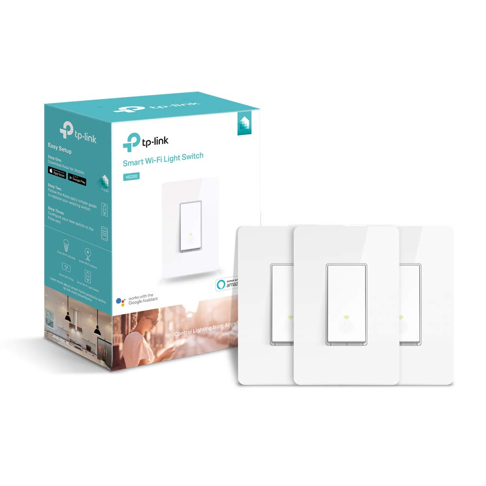 TP-LINK HS200P3 Kasa Smart WiFi Switch (3-Pack) Control Lighting from Anywhere, Easy in-Wall Installation (Single-Pole Only), No Hub Required, Works with Alexa and Google Assistant, White