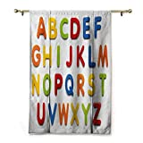 HCCJLCKS Fashion Curtain Letters Multicolored Collection of Alphabet Letters Education Image Capital Symbols Writing Breathability Multicolor W36 xL64
