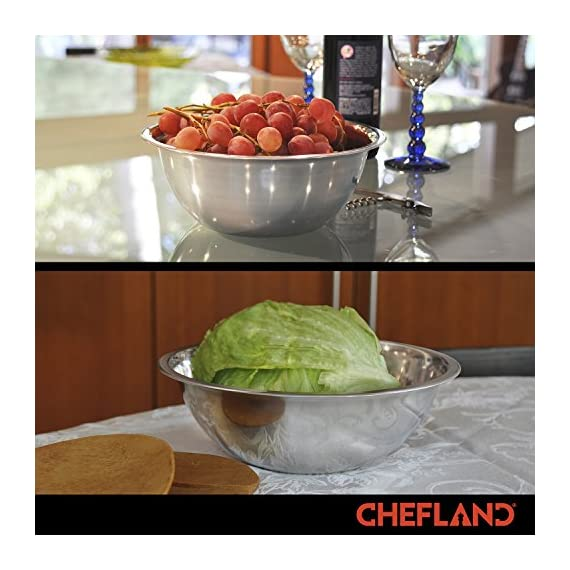 ChefLand Set of 6 Standard Weight Mixing Bowls, Stainless Steel, Mirror Finish, 0.75, 1.5, 3, 4, 5, and 8 Qt. (Mixing Bowl Set Of 6) 4 SET OF 6 ESSENTIAL SIZES - 0.75, 1.5, 3, 4, 5, and 8 Quart bowls ideal for whisking, mixing, marinating and serving. Prepare a light garnish or chop a colorful, healthy salad into the bowl of your choice and enjoy a sleek transition straight from the kitchen counter to charming serving. COMPACT STORAGE CAPABILITY - Who has space in their cupboards for loose bowls rolling around? ChefLand makes your life that bit more simple with these six, stackable, bowls that are easy to store and organize. With a lightweight, sleek and easy to use design, these bowls really do administer a professional result. STYLISH YET ROBUST - Designed with durable 18/8 stainless steel construction and finished with a reflective, mirrored exterior these bowls ensure both attractive presentation and high quality strength. A flat sturdy base and curved lip will optimize function, for a safe and sturdy mix or blend. ChefLand metal mixing bowls are rugged enough to stand up to everyday use without suffering any undue damage or wear and tear. Prepare and serve your dishes with pride, pleasure and confidence... Why not?