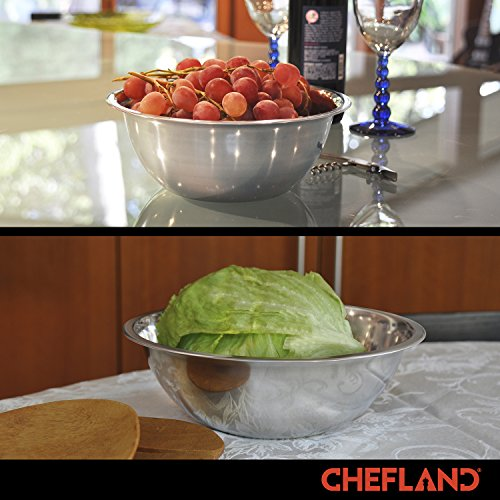 ChefLand Set of 6 Standard Weight Mixing Bowls, Stainless Steel, Mirror Finish, 0.75, 1.5, 3, 4, 5, and 8 Qt. (Mixing Bowl Set Of 6) by ChefLand (Image #3)