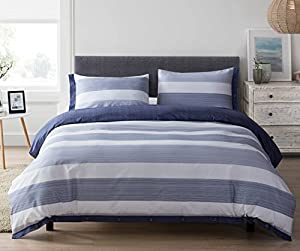 100% Natural Cotton 3 Pieces Duvet Cover Set,1 Duvet Cover 2 Pillow Shams, Hotel Quality,Soft,Breathable,Easy Care (King, White&Bule)
