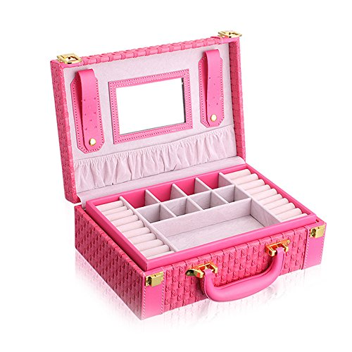 KUKI SHOP Synthetic Leather 2-Layer Large Capacity Portable Jewelry Storage Organizer Box Case with Mirror for Necklace Earrings Bracelets Hairpieces Rings Watches Brooches (Rose)