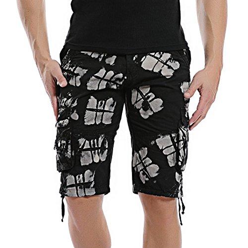 AOQ Men's Camo Cargo Shorts Cotton (36, Black Camo)