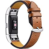 Bands for Fitbit Charge 2, Leather Bands, Replacement Genuine Leather Band Strap with Stainless Steel Buckle for Fitbit Charge2