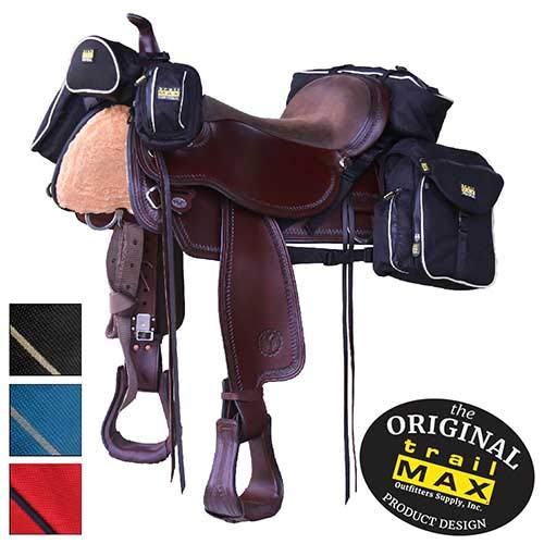 Western Riding Saddle Set - TrailMax 500 Series Deluxe 5-pc Saddlebag System for Horse Trail Riding, with Front Pocket, Rear Saddle Bags, Cantle Bag, Pommel/Horn Pocket & Water Bottle w/Carrying Bag, Black