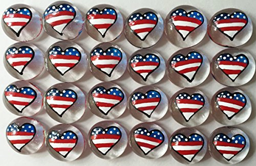HEARTS - American Flag; Set of 24 Original Hand Painted Glass Gems by Lauri; Party Supplies, Party Favor, Decoration, Token, Memoir, etc...let your imagination run wild! from Jazzy Glass Gems