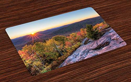 Lunarable Adirondack Place Mats Set of 4, Colorful Autumn Sunset Over Seneca Mountain Hill Covered with Thick Green Forest, Washable Fabric Placemats for Dining Room Kitchen Table Decor, Multicolor