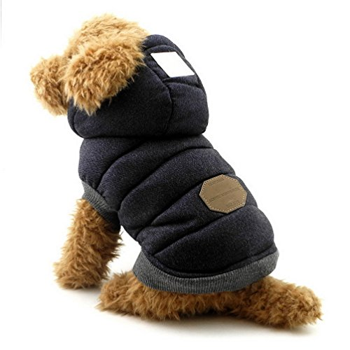 SELMAI Fleece Dog Hoodie Winter Coat for Small Boy Dog Cat Puppy Cotton Hooded Jacket Chihuahua Clothes Blue L ()