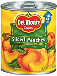 Del Monte Sliced Yellow Cling Peaches, 8.5-Ounce Packages (Pack of 12)