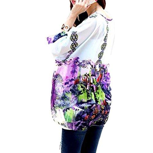 Blouse En Mousseline De Soie Pour Les Femmes Filles Manches Bohème Chic, Dolman Impression Fleur Hippie Batwing Tunique Semi-transparent Tops Manches 3/4 T-shirt Oversize Beachwear Caftan Ups Couverture Bikini Poncho? Letsenvy Boho 4010