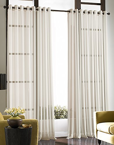 Soho Voile Lightweight Sheer Grommet Long Length Curtain Panel ()