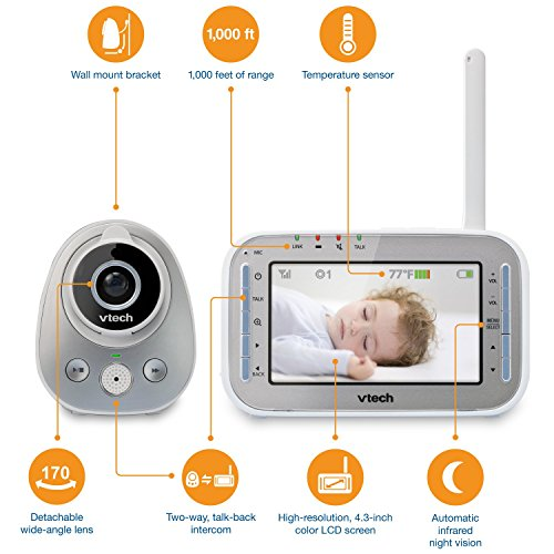 VTech VM342 Safe & Sound Expandable Digital Video Baby Monitor with 1 Camera, Standard Lens and Wide-Angle Lens