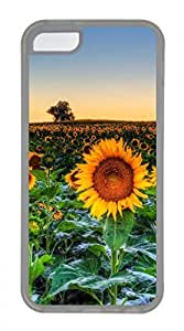 iPhone 5c case, Cute Sunflower Field Sunset iPhone 5c Cover, iPhone 5c Cases, Soft Clear iPhone 5c Covers