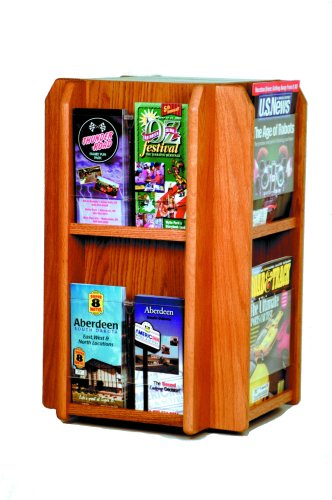 Wooden Mallet Divulge Spinning Counter Display with 8-Magazine/16-Brochure Insert Pockets, Medium Oak ()