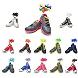 TOTOMO Choose 3 Color Bundle No Tie Shoelaces for Both Adults & Kids Sneakers Flat Running Shoe Laces Tieless Elastic Silicone
