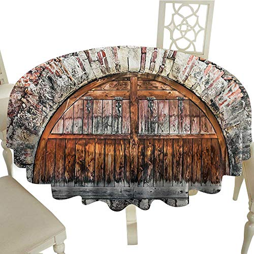 longbuyer Round Tablecloth Black Rustic,Photograph of A Brick Stone Rampart with Oval Gate with Dated Ancient Materials Art,Grey Brown D70,for Cards