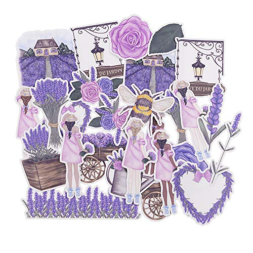 Purple Flowers Sticker - Yummy Bun French Provence Decor for Laptop, Water Bottles, Teen Girls, Women, Easily Remove No Residue Spring Watercolor Lavender Stickers Purple Flowers Decals for Scrapbook, Journal, Planner- 27pcs