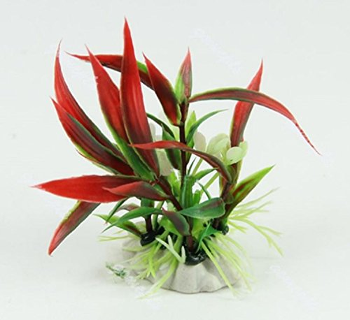 2pcs-aquarium-fish-tank-landscape-ornament-decor-red-artificial-plastic-water-plant