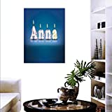 "Anna Canvas Print Wall Art Birthday Candles Little Stars in Shape Letters Newborn Girls Name Customize Wall Stickers 24""x36"" Blue Multicolor"