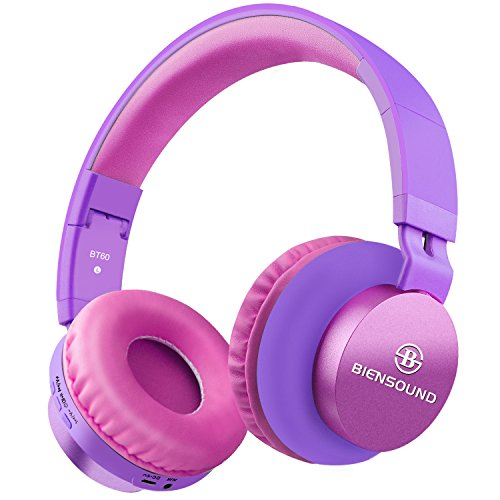 Bluetooth Headphones, Biensound BT60 Lightweight Foldable Headphones Wireless Bluetooth Headset with Microphone and Volume Control for iPad iPhone TV Laptop Computer Headphones (Purple&Pink)