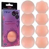 Niidor Pasties Bra, Pasties for Women 4 Pairs Round/Flower Self Adhesive Nipple Covers Reusable Bra Pasties