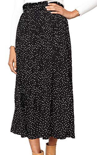 ECOWISH Womens Polka-dot Pockets Pleated Skirt Vintage Puffy Swing Casual Dress Black M