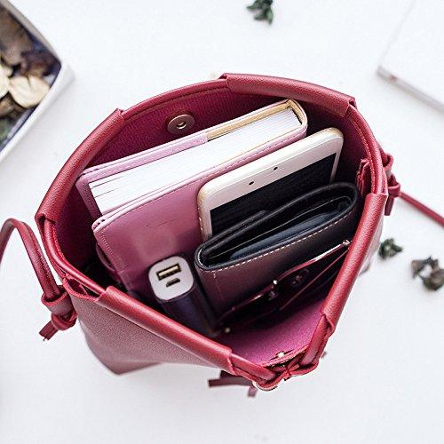 De De Bolsa Portátil Hebilla Con De rosa De Bolsa Daliuing Pequeña Gafas Cruz Maquillaje Borla Magnética De Cintura Color Bolsa Rojo Estilo De Hombro Color Sólida Las UZqw50