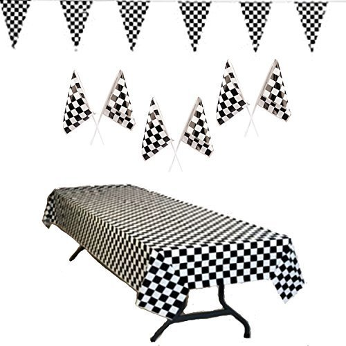 Race Car Party Supplies - Checkered Tablecover, 100 ft Pennant Flag Banner, and Plastic Checkered 7 Inch Flags (24), Total 26 (Cars Theme Party Supplies)