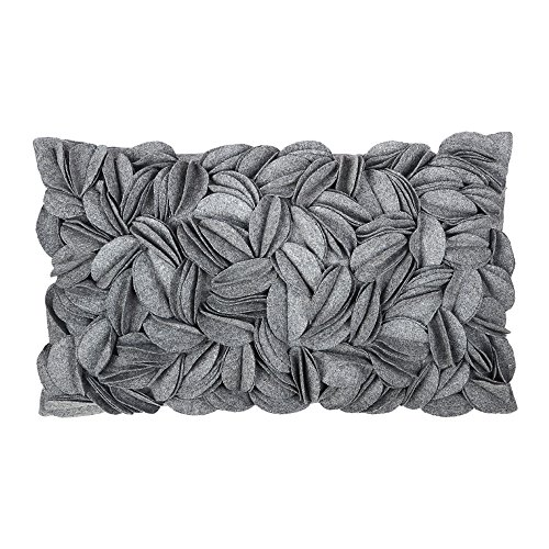 Floral Oblong Decorative Pillow (King Rose Solid Wool 3D Handmade Personalized Throw Pillow Cases Decorative Cushion Covers Home Decor for Girls Women 12 x 20 Inches Grey)