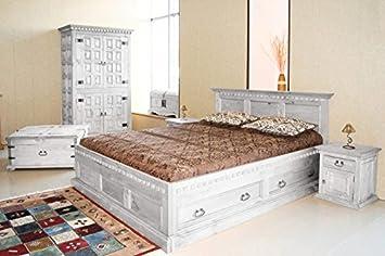 Bett Hacienda Pinie weiß massiv Holz Moebel Schlafzimmer Doppelbett ...