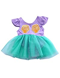 Baby Girls Sequins Mermaid Romper Dress Short Sleeve Mesh Tutu Skirt Sunsuit