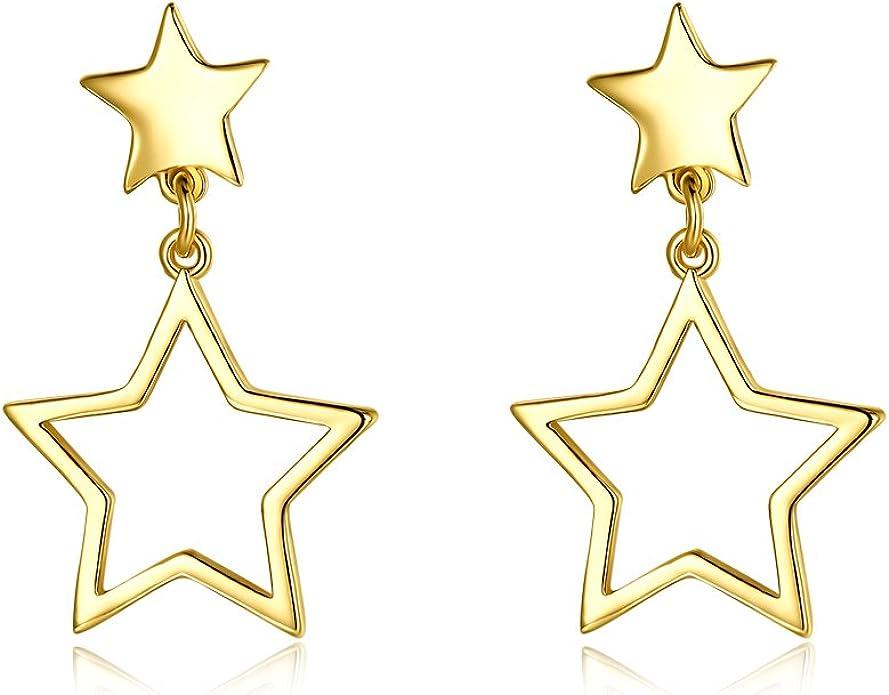 Gold Star earrings hammered star dangles