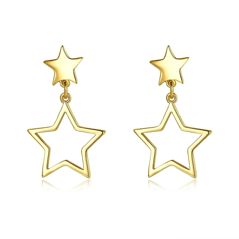 Dainty 14K Gold Triangle & Star Dangle Drop Studs Earrings For Girls Womens For Senstitive Ears