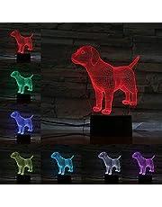 Lámpara de control táctil 3D Bluetooth Forma de perro Lámpara 3D Acrílico Luz de noche Bombilla LED Flash multicolor Desvanecimiento Lampara Cabecera Regalos de Navidad para niños Juguete para