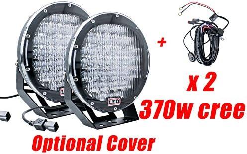 NEW PAIR 9INCH 370W LED DRIVING LIGHT CREE BLACK ROUND SPOTLIGHT BAR OFFROAD 4X4