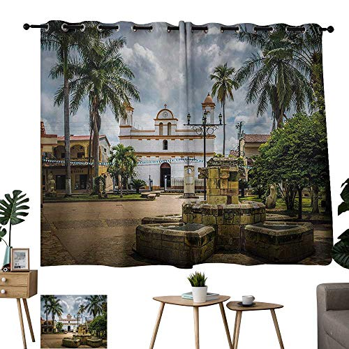 - Small size perforated curtain Travel Main Square of Copan Ruinas City Honduras Central America Mayan Town with Palms Multicolor Blackout Bedroom Curtain Thermal Insulated Energy Efficient W63