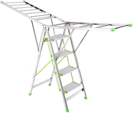 Yuanyuanliu Bastidores De Escalera De Aterrizaje De Secado Bajo Techo Plegable De Acero Inoxidable Edredones Palabra Escalera De La Casa: Amazon.es: Hogar