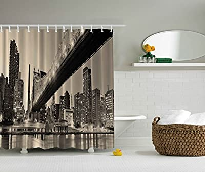 Fall Wooden Bridge Print Polyester Fabric Shower Curtain - Extra Long