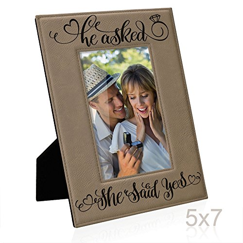 He asked, She said Yes Engraved Leather Picture Frame, Engagement Gifts, Wedding Gifts, Bride to Be, Groom to Be, We're Engaged Photo Frame, Proposal Gifts, She's the One Surprise (5x7-Vertical)