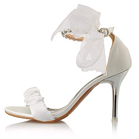 KPHY Scarpe da donna/In Estate Le Donne I Sandali Dita Dei Piedi Tacchi A Spillo Papillon Con Le Scarpe Alla Moda 9Cm 41 White