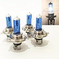Combo 2 Pair H4 9003-HB2 Super White 5000K Xenon Halogen Headlight Lamp Light Bulb (Hi/Lo High/Low Beam) OEM Replacement