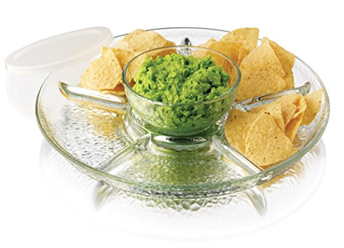 (Libbey 3 Piece Frosted Chip & Dip Set, One Size, Clear)