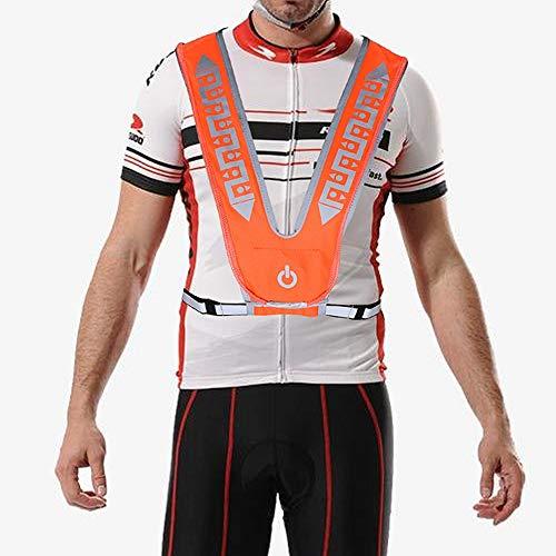 ThyWay USB Rechargeable Reflective Vest for Running or Cycling with Multicolored LED Fiber Optics (Women & Men & KIdsAdjustable, Lightweight, Weatherproof Gear for Jogging & Biking Orange Adjustable) ()