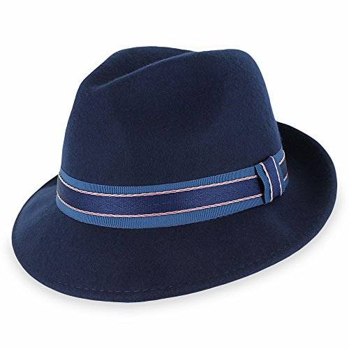 (Belfry Striped Trilby Men Women Crushable Wool Felt Fedora Hat (Small) Navy)