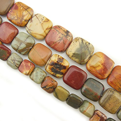 COIRIS 15'' Strand 10mm Natural Picasso Jasper Gemstone Square Shape Loose Beads for Jewelry Making (ZS1098-10)